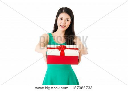 Asian Brunette Woman Gesturing Giving Gift Box
