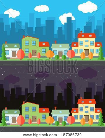 Vector city with four cartoon houses and buildings in the day and night.Summer urban landscape. Street view with cityscape on a background