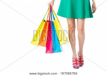 Woman Shopping Time. Closeup Of Beauty Girl Legs