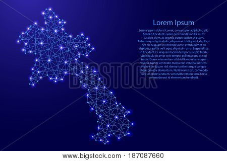 Map of Laos from polygonal blue lines and glowing stars vector illustration