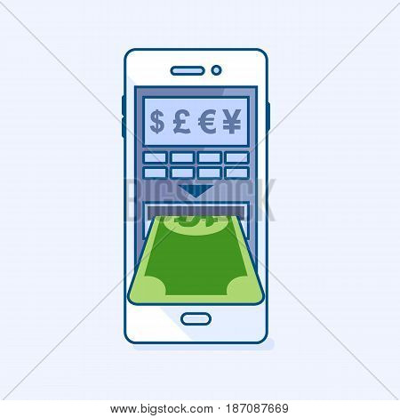 Vector illustration of ATM cash machine smartphone mobile gives dollar money banknote cash. Wallet Phone banking eCommerce business finance concept icon pictogram