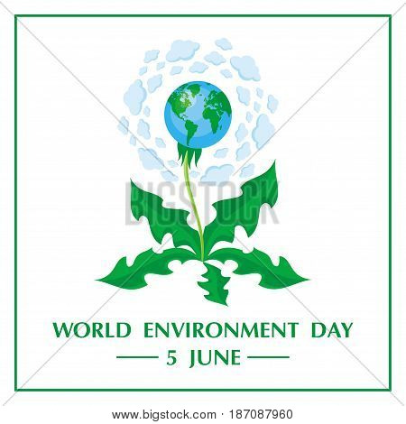 World Environment Day. Vector illustration with the image of planet Earth