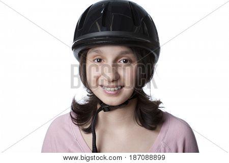 Mixed race teenager in bicycle helmet