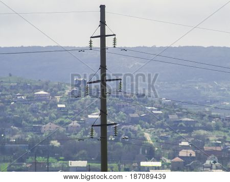 Large concrete column with the electrical wires