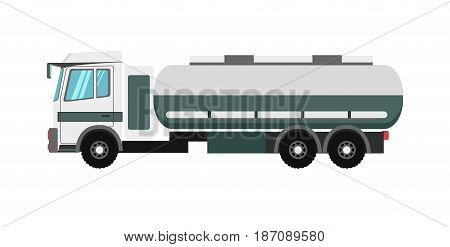 Big green colored vehicle with fuel tank isolated on white. Vector illustration.