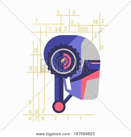 Vector illustration of futuristic droid head with countings isolated on white.