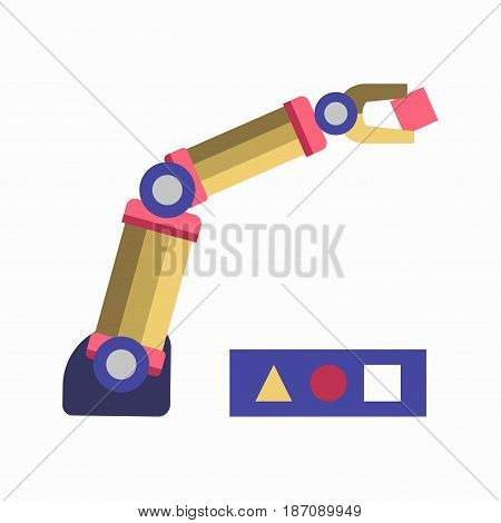 Vector illustration of robotic arm solving geometric childish puzzle isolated on white.