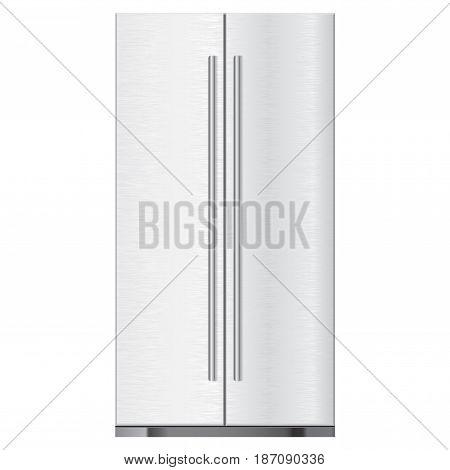 Refrigerator. Brushed metal. Vector illustration isolated on white background.