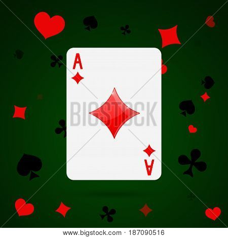 Ace of diamonds. Playing card. Vector illustration
