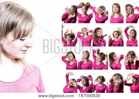 Collage of portraits of a girl. Different emotions.