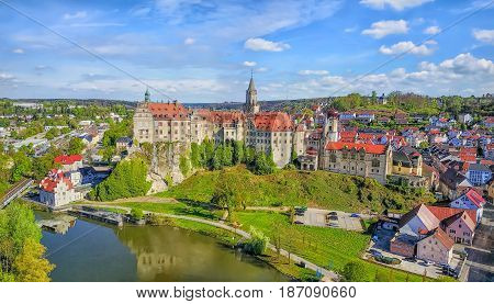 Panoramic aerial view on Sigmaringen castle located on the side of Danube river in Sigmaringen Baden-Wurttemberg Germany