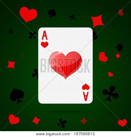 Ace of hearts. Playing card. Vector illustration