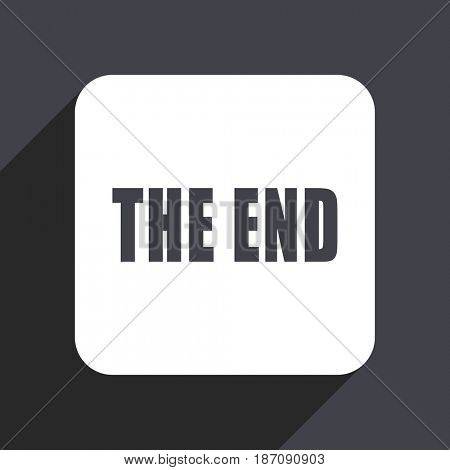 The end flat design web icon isolated on gray background