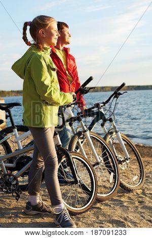 Biker family. Happy family on bikes. Clouse-up