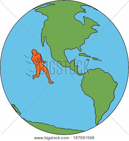 Drawing sketch style illustrations of marathon triathlete runner running viewed from the side set inside globe showing North and South America and the world.