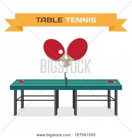 Green table for tennis and rackets. Equipment for ping-pong. Flat isolated vector illustration