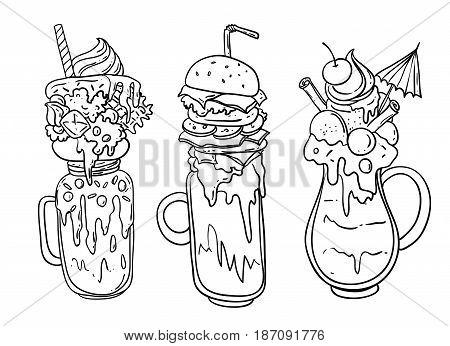 Hand drawn vector illustration monster shake. Food sketching.
