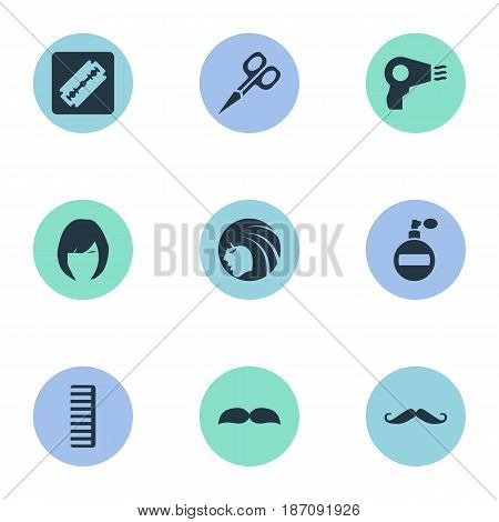 Vector Illustration Set Of Simple Barber Icons. Elements Hair, Blow Dryer, Whiskers And Other Synonyms Shaver, Beautiful And Hairdryer.