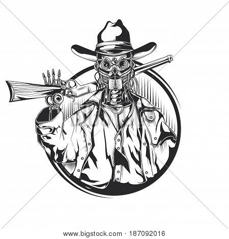 Isolated illustration of old robot cowboy. Hand drawn vector illustration.