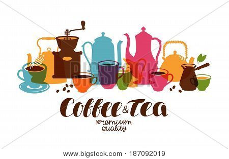 Drinks, tea, coffee banner. Design template for restaurant menu or cafe. Vector illustration isolated on white background
