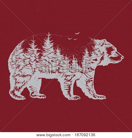 Hand drawn double exposure illustration of bear silhouette. White on red isolated.