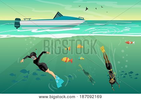 Young women scuba diver dives under the sea into the sea at sunset. Vector flat cartoon illustration