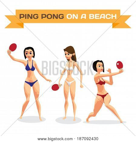 Set of young women in bikini with racket for table tennis. A girls in a swimsuit on the beach plays ping-pong. Flat isolated vector illustration