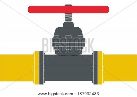 Gas pipe with  flange and valve. Vector illustration isolated on white background