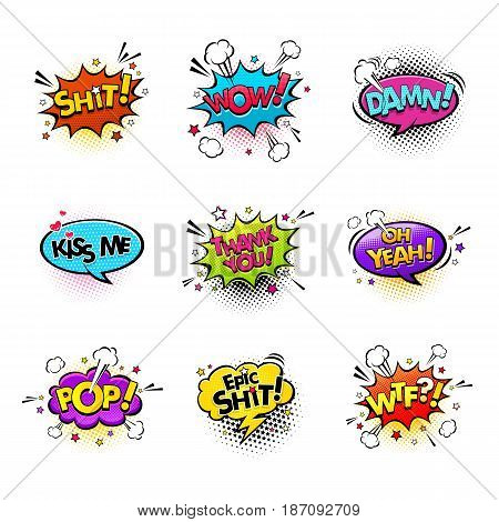 Comic speech bubbles and splashes set with different emotions and text WowShit Oh Yeah Damn Kiss me Thank you Epic Shit Pop Wtf. Vector bright dynamic cartoon illustrations isolated on white background.