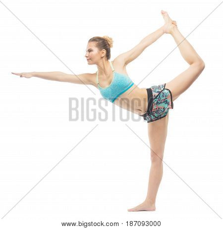 Sporty Beautiful Young Female Doing Yoga Lord Of The Dance Left / .natarajasana Advanced Right Isola