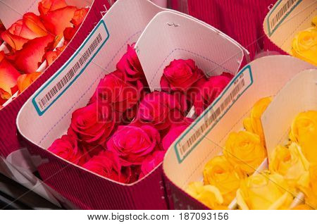 Bunch of beautiful dozens of blossoming white, yellow and orange roses bouquets.