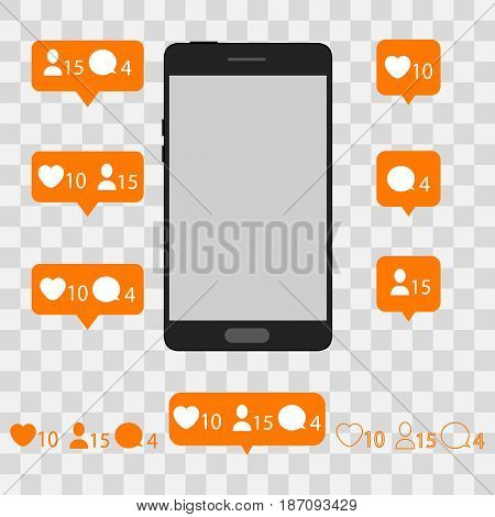 Like, follow, comment with phone. vector illustration