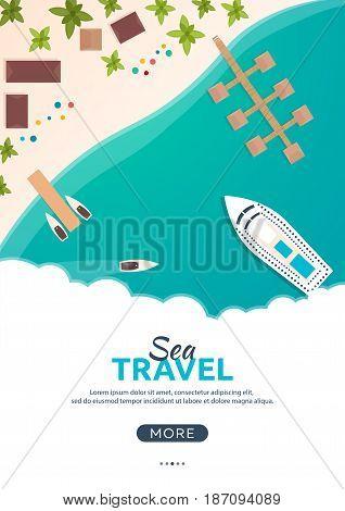Summer Travel Banner. Sea Travel. Summer Time. Hello Summer. Cruise To Paradise. Beach, Sea And Ship
