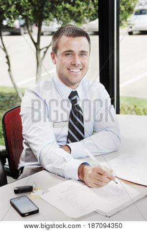 Caucasian businessman working at desk