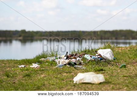 Garbage dump on the lake - environment pollution.