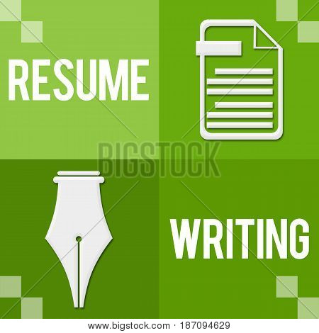 Resume writing concept image with text and related symbols.