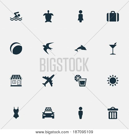 Vector Illustration Set Of Simple Beach Icons. Elements Suitcase, Airplane, Taxi And Other Synonyms Beverage, Dustbin And Summer.