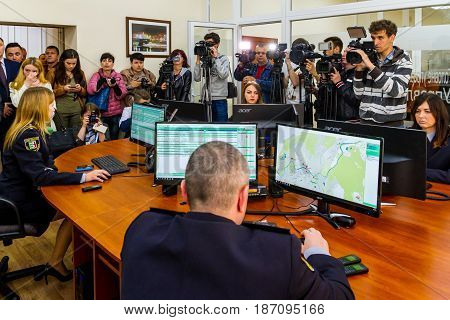 Uzhgorod Ukraine - May 5 2017: Local journalists and police work at the opening of the modern situation center of the National Police of Ukraine in the Transcarpathian region.