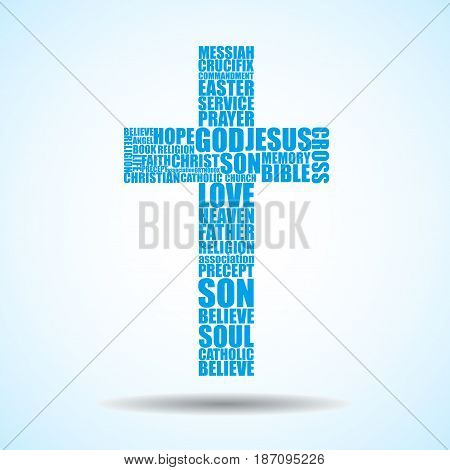 Cross of religious words. Christian Symbol. Vector