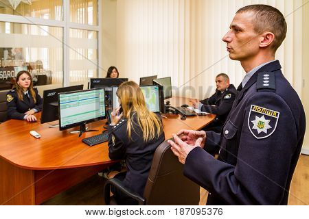 Uzhgorod Ukraine - May 5 2017: Policemen process operational data during the opening of the modern situation center of the National Police of Ukraine in the Transcarpathian region.