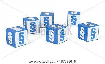 Many paragraph symbols on cubes as imprint concept (3D Rendering)