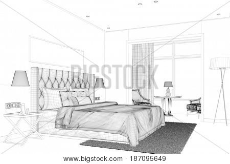 CAD planning of bedroom with king size bed in room planner (3D Rendering)