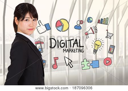 Digital composite of Side view of businesswoman with digital marketing graphics