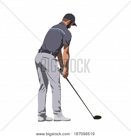 Golf player in gray shirt abstract vector illustration
