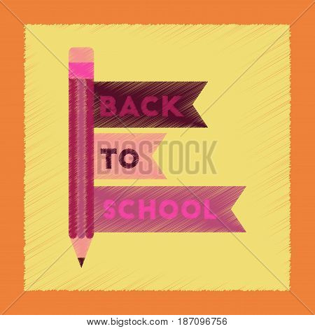 flat shading style icon of Back to school pencil