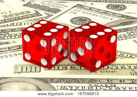 3d illustration: high quality rendering of transparent two red dices with white dots lie on the background of green 100 dollar money. Vegas fortune casino gambling concept. the chance to win wealth.