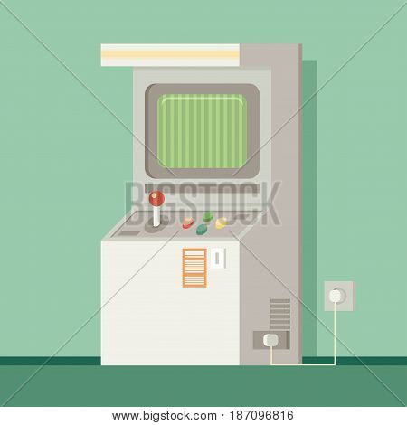 Retro Arcade Machine. Flat Style Vector Illustration.
