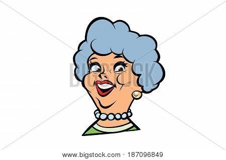 Funny adult woman fashionable grandmother portrait. Comic book cartoon pop art retro color vector illustration hand drawn