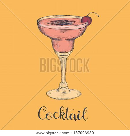 Exotic cocktail margarita cherry. Sketch cocktail vector