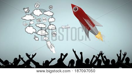 Digital composite of Rocket in midair by cloud icons over silhouette people